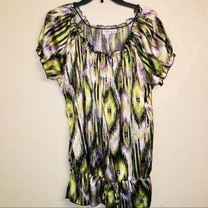 3/$12 Cato women green and purple silk like blouse